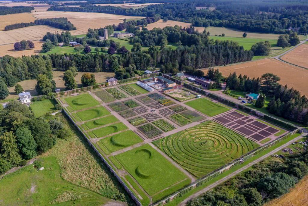 Gordon Castle Walled Garden in Summer Drone