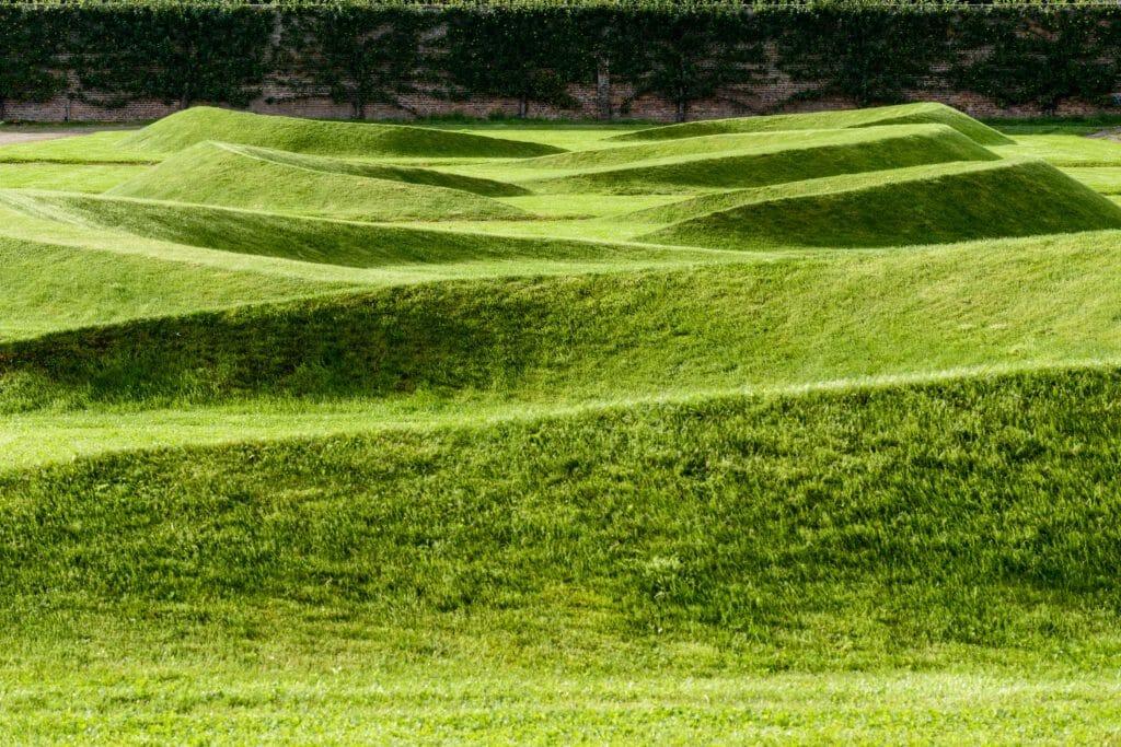 Grass mounds at Gordon Castle Walled Garden in Summer 2017
